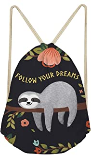 Upetstory Sloth Drawstring Backpack Gympack String Sack for Women Girls Beach Shopping Funky Follow Your Dreams Printed Gym Bags