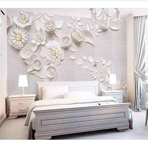 Wuyii Gebruikergedefinieerde behang 3D Foto Mural Nordic Wind luxe sieraden bloem leer snijden behang wooncultuur 3D achtergrond 120 x 100 cm.