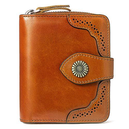 BOSTANTEN Geldbörse Damen Klein Leder Portemonnaie Frauen Geldbeutel mit RFID Schutz Reißverschluss Portmonee Braun