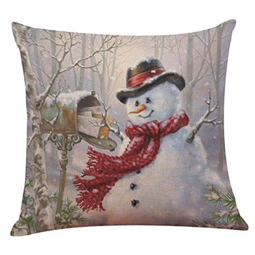 Merry Christmas Pillow Cushion Covers Home Decorative Pillow Cases, callm Pillowcase Decoration Cotton Linen Christmas Pillowcase Sofa Cushion Cover Home Decor (J)