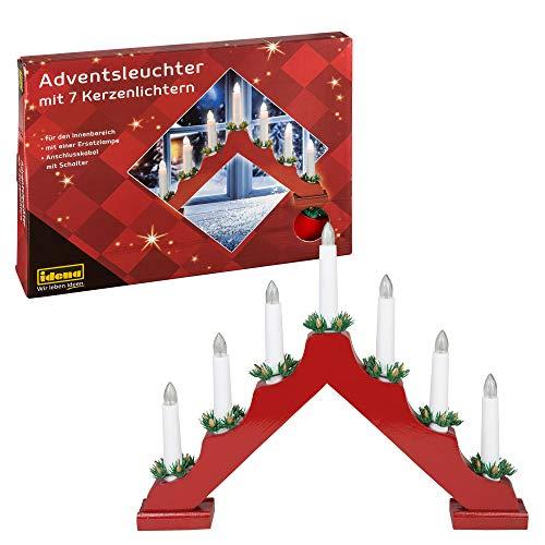 Idena, candelabro dell'avvento con 7luci a forma di candela Rosso, con candele rot
