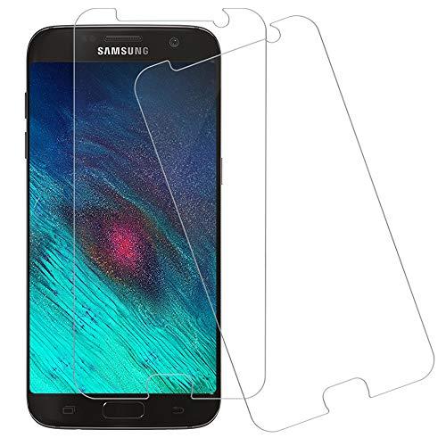 Wsky Panzerglas Schutzfolie für Samsung Galaxy S7, 9H Härte Glas Display schutzfolie, Anti-Kratzer Panzerglasfolie, Anti-Öl, HD Klar Displayschutzfolie Einfaches Anbringen 2 Stück