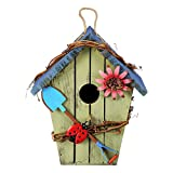 ADIGA Wooden Bird House Birdcage Colorful Painting Outdoor Garden Hanging Birds Cottage Feeder Eco-Friendly Crafts
