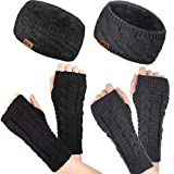 2 Pieces Women Winter Knitted Headband and 2 Pairs Fingerless Gloves, Fuzzy Lined Ear Warmers Head Wrap and Cable Knit Arm Warmers Thumbhole Gloves Mittens for Women Girls Winter Accessories