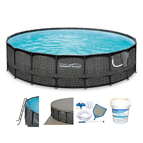 """Summer Waves Elite P4A01848B 18ft x 48in Above Ground Frame Outdoor Swimming Pool Set w/Pump, Pool Cover, Ladder, Ground Cloth, & 3"""" Chlorine Tablets -  P4A01848B167 +"""