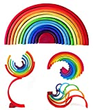 MUOARD Wooden Rainbow Stacking Toy, 12 Pieces Rainbow Stacker Nesting Puzzle Waldorf Toys