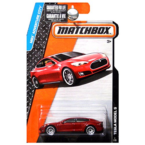 Matchbox 2015 MBX Adventure City Tesla Model S Maroon Red Metallic