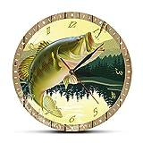 gongyu Es pez Pescador Hombre Cueva lubina señuelo impresión a Todo Color Reloj de Pared de Pesca Reloj de Cocina Moderno Regalo de Pescador de Pesca