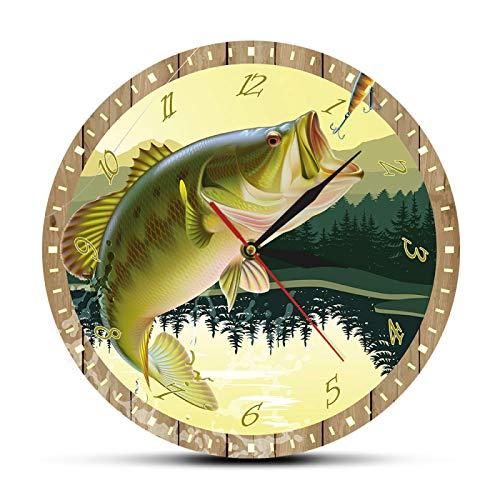 gongyu Reloj de pared Decoración es pescador hombre cueva lubina señuelo impresión a todo color reloj de pared de pesca moderno reloj de cocina pescador pescador regalo adecuado para estudio oficina