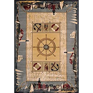 United Weavers of America Genesis Collection Seascapes Heavyweight Heat Set Olefin Rug, 1-Feet 10-Inch by 3-Feet, Blue