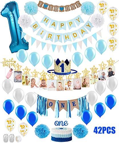 Décorations 1er Anniversaire Bébé Garçon Première Party Kit de thème Or Bleu, 1-12 Mois...