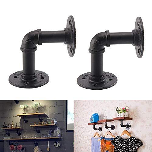 Kungfu Mall 2 soportes para estante de tubería de hierro industrial vintage, 12 x 17 cm, soporte para estante flotante de pared para tienda y decoración del hogar