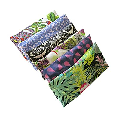 Hunki Dori Peacegoods Aromatherapy Eye Pillow - Bundle of (6) - 4.5 x 9 - Organic Lavender Chamomile Flax Cotton - Removable Cover Washable - green black pink purple bird flowers leaves