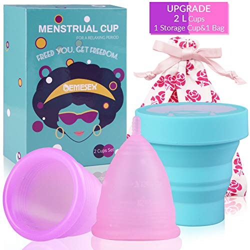 Menstrual Cups 2-Large Cups for Heavy Flow Soft and Reusable Period Cup FDA Approved Medical Grade Silicon Tampons and Pads Alternative Purple&Pink
