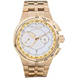 Mulco Lyon Quartz Chronograph Movement Men's Watch | Premium Analog Display Watch Band | Water Resistant Stainless Steel Watch (Gold/White)