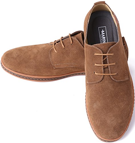 Marino Oxford Suede Dress Shoes for Men – Formal Leather Shoes – Casual Classic Brogue Men's Shoes – Light Brown – 10 D(M) US