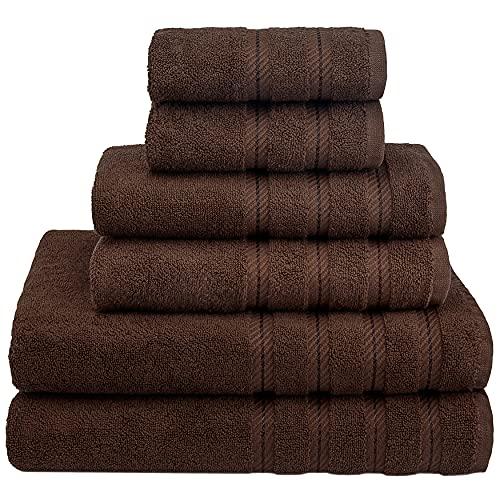 American Soft Linen, 100% Turkish Cotton 6 Piece Towel Set, Absorbent, Durable, Soft & Fluffy, Hotel & Spa Bathroom Towels, 610 GSM, 2 Bath 2 Hand 2 Wash Towels (Bath Linen Set, Brown)