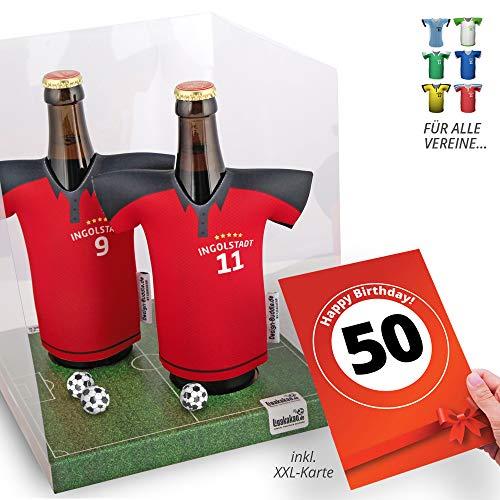 50. Geburtstag | Der Trikotkühler | Das Männergeschenk für Ingolstadt-Fans | Langlebige Geschenkidee Ehe-Mann Freund Vater Geburtstag | Bier-Flaschenkühler by Ligakakao