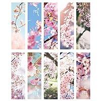 NUOLUX 60Pcs桜のしおりフラワー日本風景 ペーパー 本クリップブックマークブック