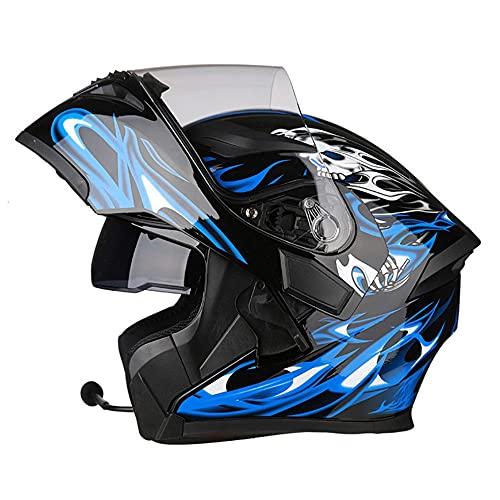 Casco Moto Modular Hombre con Bluetooth Integrado Anti Niebla Visera Doble, ECE Dot Homologado Cascos Integrales Moto para Hombre y Mujer M~XXXL