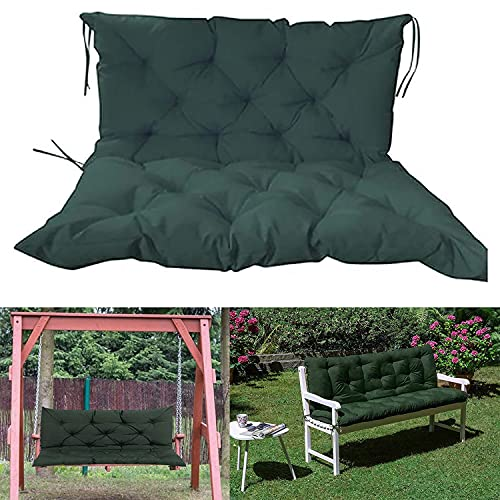 YLLN Waterproof Bench Cushion with Backrest,2 or 3 Seater Garden Bench Cushion Overstuffed Swing Pad,Replacement Seat Pad Cushion for Outdoor Garden Patio Swing