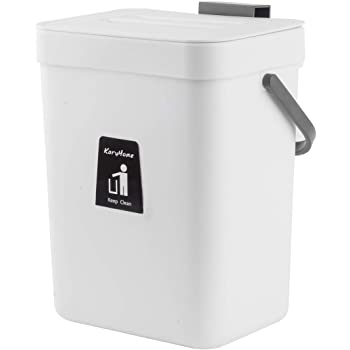 KaryHome Countertop Compost Bin with Lid, Hanging Small Trash Can with Lid Under Sink for Kitchen Bathroom,Mountable Compost Bucket, White