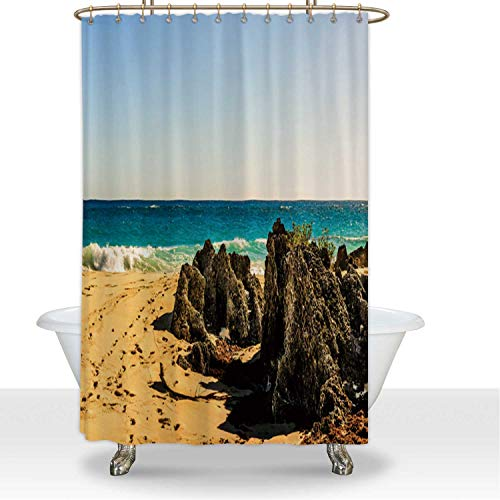 ALUONI Shower Curtainsd and Rock Formations on The Most Amazing Beach in Bermuda Polyester Fabric Shower Curtain Shower Accessories,for Hotel,60''W x 72''H