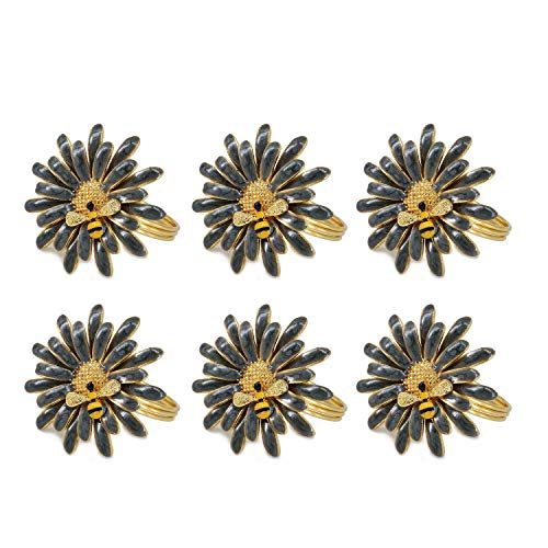 QTKJ Set of 6 Home Metal Flower Napkin Rings Cute Bee Napkin Buckles Holder for Wedding,Parties, Dinners, Christmas, Holidays Decor (Gray)