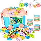 MELLRO Kinderspielblöcke Aufreihmaterial for Kleinkinder Educational Stringing Toy-Large-Knopf-Spielzeug 256 Stück Großen Schnürsystem Bead Set for Kinder Für Kleinkinder Kinder Mädchen & Jungen