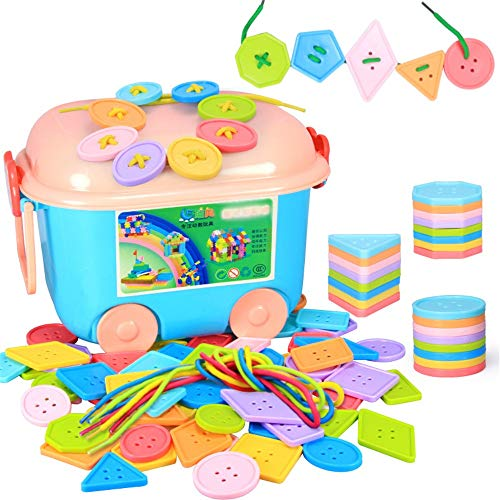 Fantastic Deal! PengAnGuo Threading Toy Big Button Toy 256 Pieces of Beads for Children's Children T...