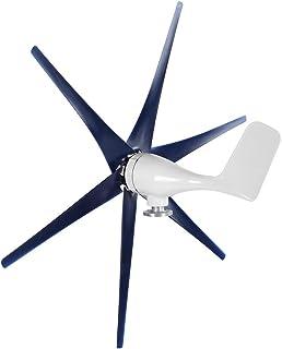 Mini Generador de Turbinas Eólicas, Turbinas Eólicas de 6 Palas Fuentes de Alimentación de 400 W Motor Trifásico Con Controlador, Kit de Generador de Turbinas Eólicas de Bajo Ruido(Blue 12V)