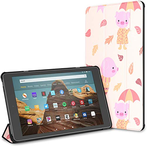 Case for All-New Amazon Fire Hd 10 Tablet (7th and 9th Generation,2017/2019 Release),Slim Folding Stand Cover with Auto Wake/Sleep for 10.1 Inch Tablet, Autumn Texture Cute Pink Cartoon Style