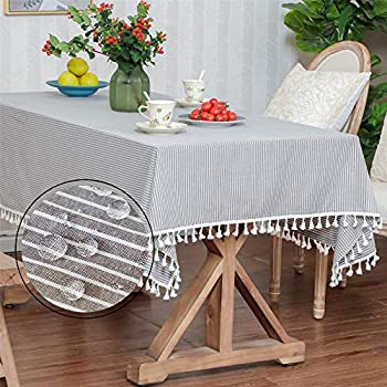 LUCKYHOUSEHOME Coffee and White Stripe Tassel Tablecloth Waterproof Rural Small Home Kitchen Dinning Tabletop Table Cover 39 x 55 Inch