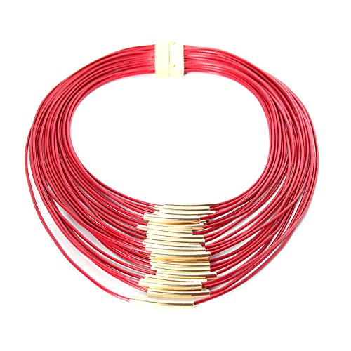 JUSTFOX - Cleopatra Halskette mit Magnetverschluss (Rot)