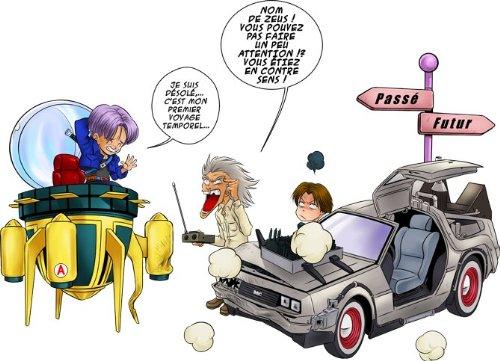 Okiwoki T-Shirt Noir DBZ et Retour vers Le Futur parodique Trunks Vs Doc et Marty Macfly : Collision dans Les Couloirs du Temps ! (Parodie DBZ et Retour vers Le Futur)