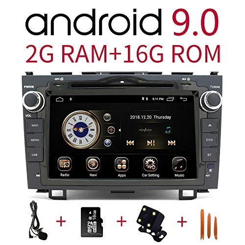 Car Stereo Radio in Dash Navigation for Honda CRV 2007 2008 2009 2010 2011, 8 inch Touchscreen Android 9.0 Single Din DVD Player Bluetooth with Rear View Camera,16GB SD Card,3.5mm Mic