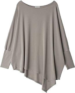 Comaba Women Long-Sleeve Solid Tees Top O-Neck Irregular Hem T-Shirts
