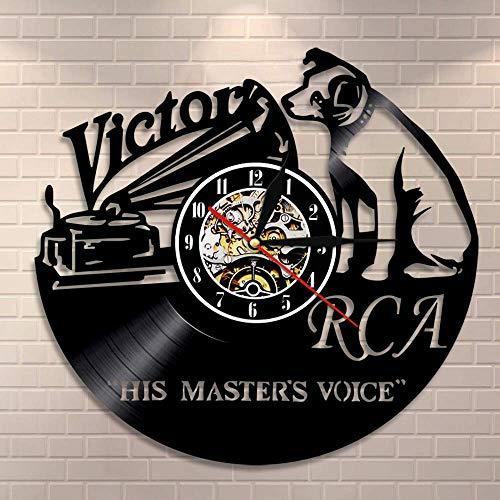 GXYtable cloth RCA Victor Dog Son Maître S Voice Musical Dog Horloge Murale Victor Nipper Dog Vintage Vinyle Record Horloge Rock n Roll Cadeau de Musique