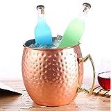 Cubo de Hielo Duradero Cubo de Fiesta Moscow Mule Cobre Enfriador de Bebidas con asa de Transporte para Vino Champagne Cerveza Prosecco 5L Oro Rosa