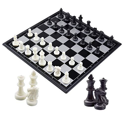 SANTOO Schachspiel Magnetisch Klappbar Schachbrett Schach für Kinder Erwachsene Reisen Schach Chess mit Aufbewahrungsbox