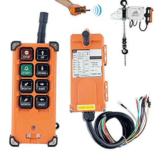 SOFEDY 8 Buttons Wireless Crane Remote Control Industrial Channel Electric Lift Hoist Radio Switch Transmitter Receiver (3V DC Transmitter + 12V DC Receiver)