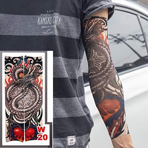 2 stück heißer Tattoo Sleeve Style Stretch 100% Nylon arm strümpfe geliebtes mädchen Wolf Drachen Design Halloween Coole männer 2 stück-