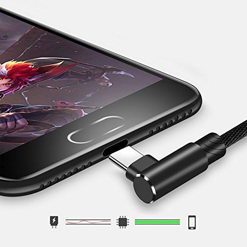 Cuitan Micro USB Kabel, 2M USB Schnellladekabel 90 Grad Rechtwinklig Legierung Nylon Geflochtene Ladekabel für Android Smartphones, Samsung, HTC, Sony, Nexus - Schwarz