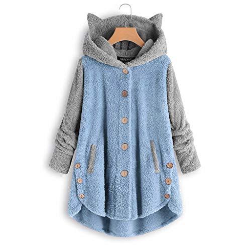 MEIPIQI Chaqueta de felpa para mujer, con botones, patchwork, con capucha, suelta, de gran tamaño, 2021,...