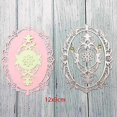 Metal Cutting Dies Cut Dies Lace Flower Oval Frame Background Stencil Craft Dies for Card Making Scrapbooking Oval Shape Dies