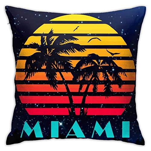 Traveler Shop Miami 80s Sunset Funda de Almohada Funda de cojín Cuadrada Sofá casero Decorativo 18 x 18 Pulgadas