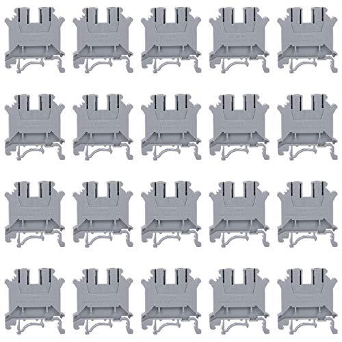 Baluue Kit de blocos de terminais de trilho DIN 20 peças Conector de blocos de terminais 3N Reino Unido para indústria de máquinas trabalhadoras (cinza)