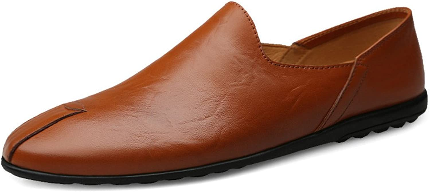 TiandaoMXL Men's Driving Loafers Whole Smooth Genuine Leather Vamp Slip-on Soft Sole Dress shoes