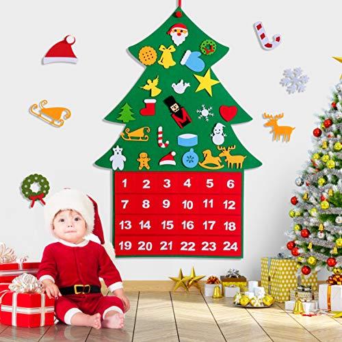 rolimate Albero Natale Feltro per Bambini, Calendario dell'Avvento Natalizio 2020, 24 Pezzi di Ornamenti Staccabili con Corda per casa/Aula/Fatto a Mano/Porta a Muro/Decorazioni da Appendere
