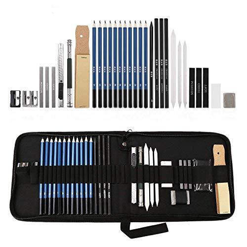 Lypumso Skizzierstifte Set Bleistifte für Skizzieren und Zeichnen Profi Art Set mit Graphitkohlestifte Sticks Werkzeuge und Kit Bag 33 Stück